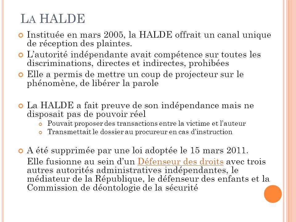 L A HALDE Instituée en mars 2005, la HALDE offrait un canal unique de réception des plaintes. Lautorité indépendante avait compétence sur toutes les d