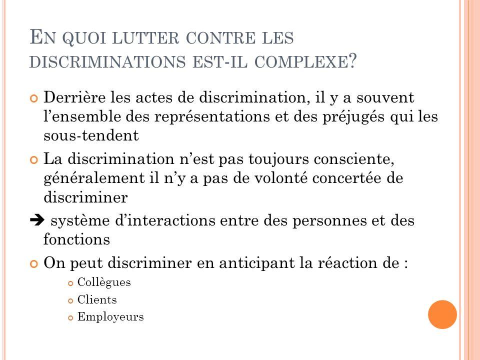 Derrière les actes de discrimination, il y a souvent lensemble des représentations et des préjugés qui les sous-tendent La discrimination nest pas tou