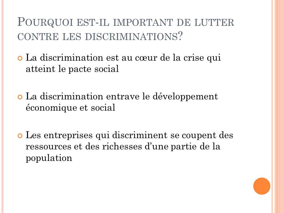 P OURQUOI EST - IL IMPORTANT DE LUTTER CONTRE LES DISCRIMINATIONS ? La discrimination est au cœur de la crise qui atteint le pacte social La discrimin