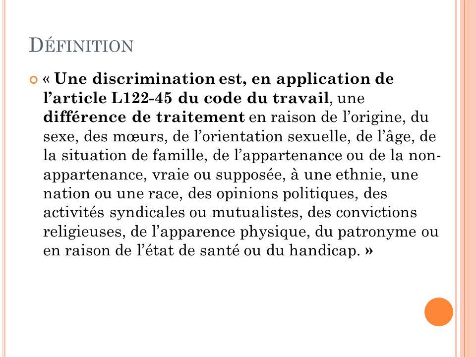 D ÉFINITION « Une discrimination est, en application de larticle L122-45 du code du travail, une différence de traitement en raison de lorigine, du se