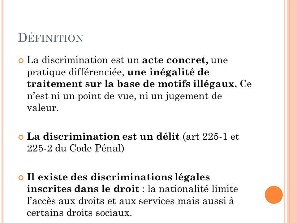 La discrimination est un acte concret, une pratique différenciée, une inégalité de traitement sur la base de motifs illégaux. Ce nest ni un point de v