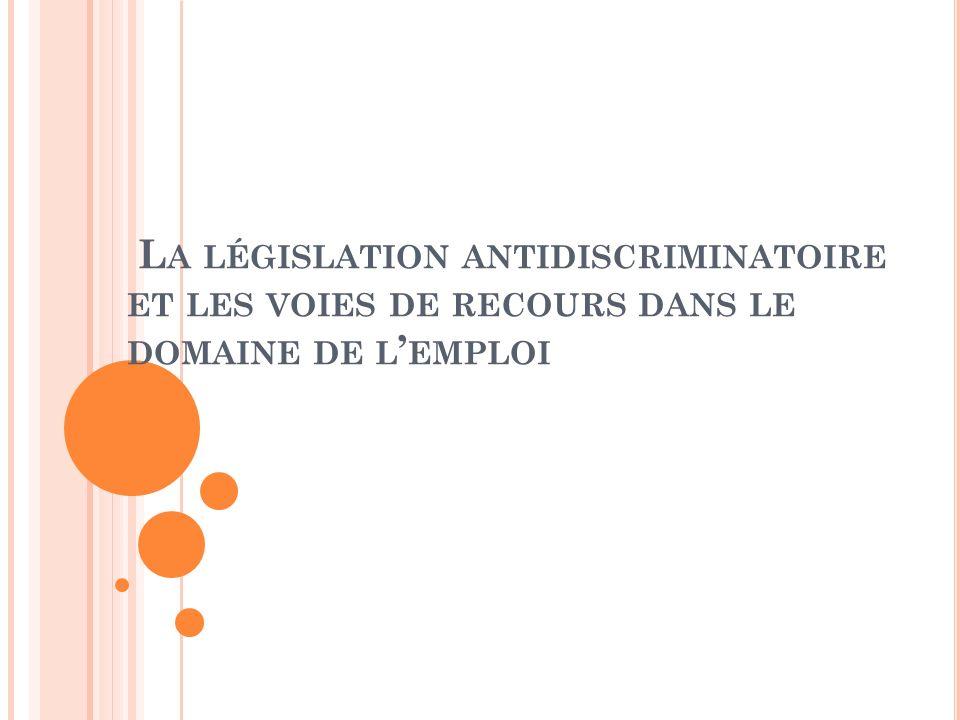 L ES TEXTES DE RÉFÉRENCE Textes internationaux La Convention de lOIT (organisation internationale du travail) n°111 de 1958 (ratifiée par la France le 28 mai 1981) relative à légalité de traitement en matière demploi et de profession.
