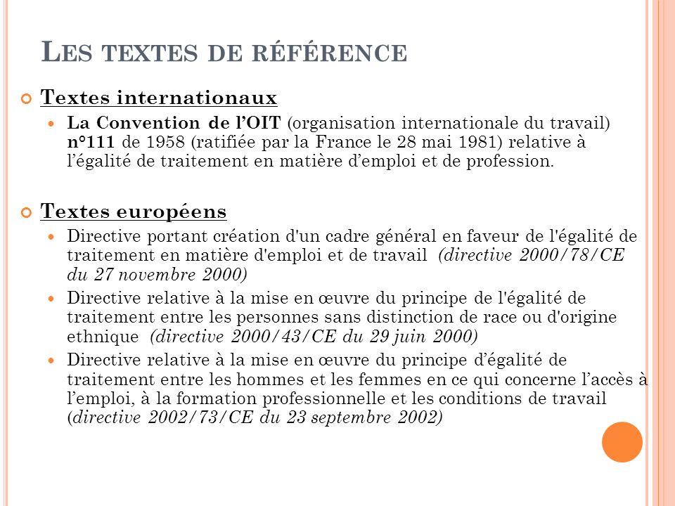 L ES TEXTES DE RÉFÉRENCE Textes internationaux La Convention de lOIT (organisation internationale du travail) n°111 de 1958 (ratifiée par la France le