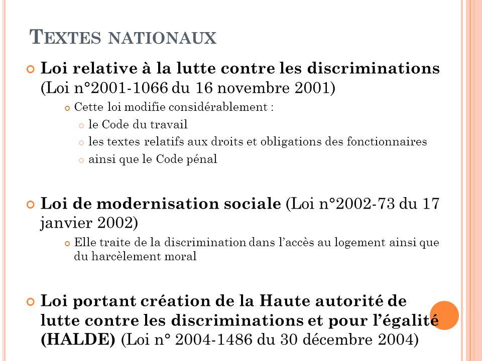 T EXTES NATIONAUX Loi relative à la lutte contre les discriminations (Loi n°2001-1066 du 16 novembre 2001) Cette loi modifie considérablement : le Cod