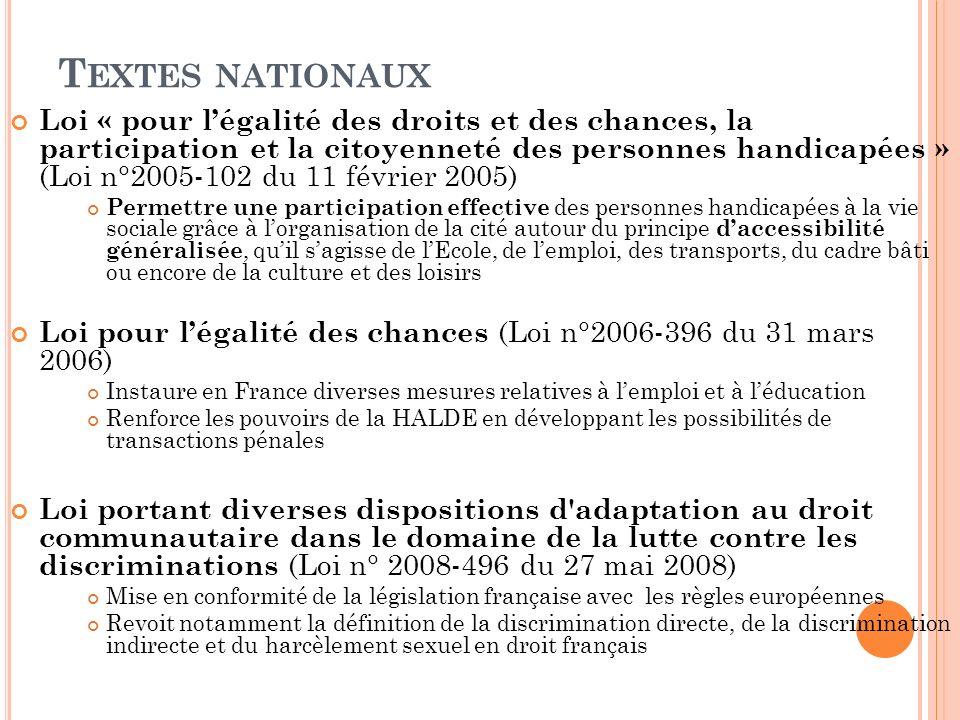 T EXTES NATIONAUX Loi « pour légalité des droits et des chances, la participation et la citoyenneté des personnes handicapées » (Loi n°2005-102 du 11