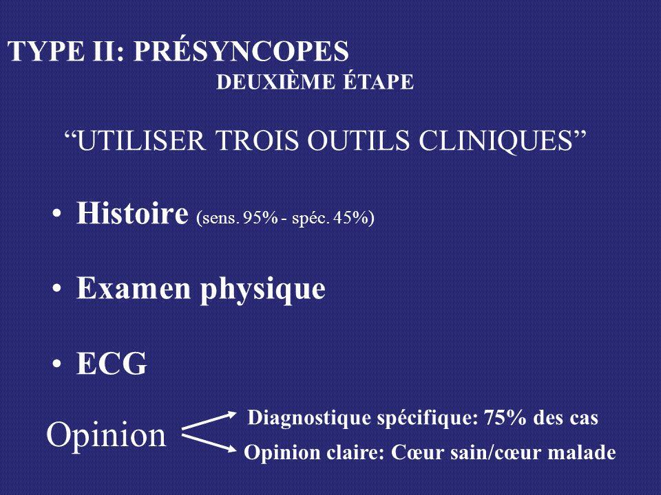 UTILISER TROIS OUTILS CLINIQUES Histoire (sens. 95% - spéc. 45%) Examen physique ECG Opinion Opinion claire: Cœur sain/cœur malade TYPE II: PRÉSYNCOPE