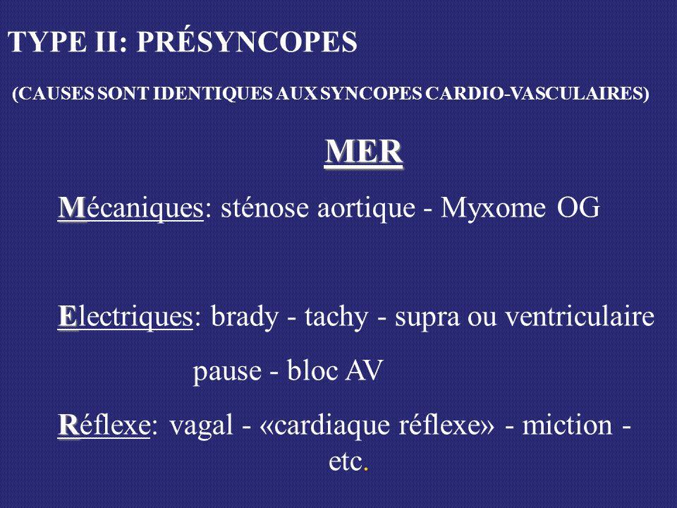 MER M Mécaniques: sténose aortique - Myxome OG E Electriques: brady - tachy - supra ou ventriculaire pause - bloc AV R Réflexe: vagal - «cardiaque réf