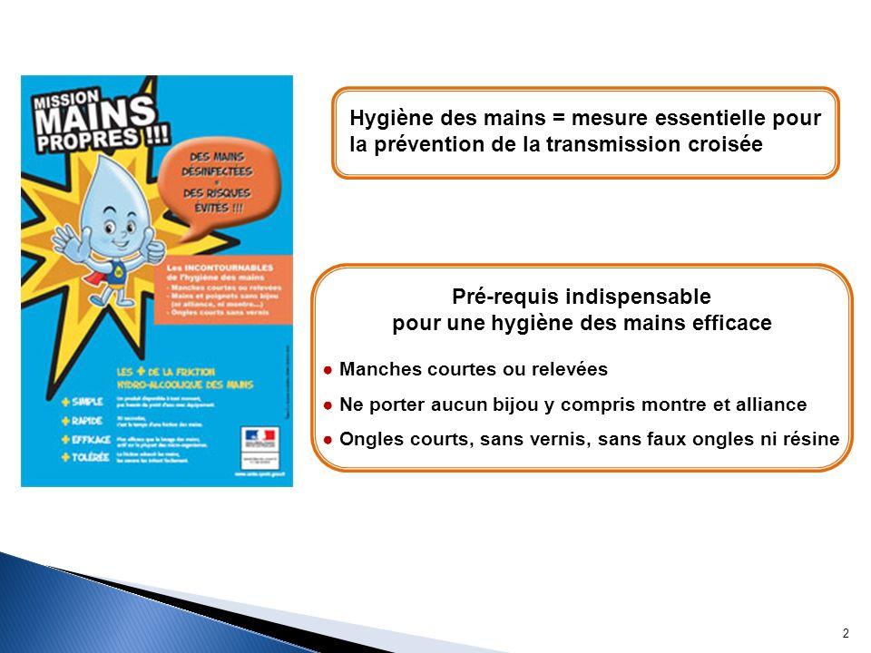 Hygiène des mains = mesure essentielle pour la prévention de la transmission croisée Pré-requis indispensable pour une hygiène des mains efficace Manc