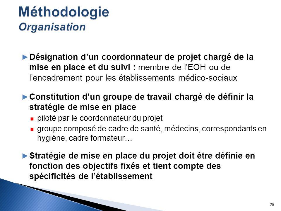 Désignation dun coordonnateur de projet chargé de la mise en place et du suivi : membre de lEOH ou de lencadrement pour les établissements médico-soci