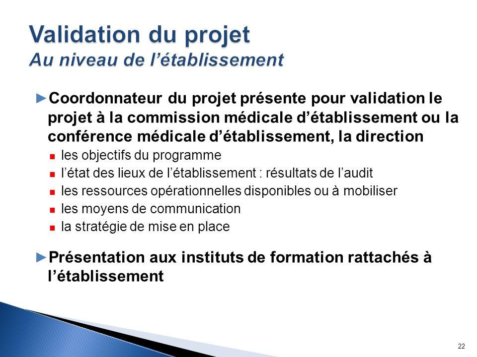 Coordonnateur du projet présente pour validation le projet à la commission médicale détablissement ou la conférence médicale détablissement, la direct