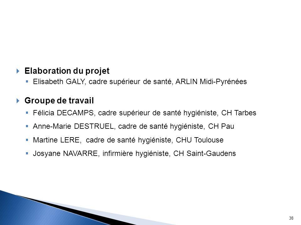 Elaboration du projet Elisabeth GALY, cadre supérieur de santé, ARLIN Midi-Pyrénées Groupe de travail Félicia DECAMPS, cadre supérieur de santé hygién