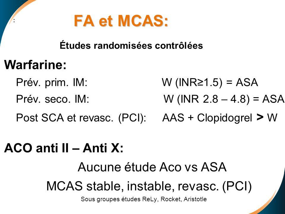 : Warfarine: Prév. prim. IM: W (INR1.5) = ASA Prév. seco. IM: W (INR 2.8 – 4.8) = ASA Post SCA et revasc. (PCI): AAS + Clopidogrel > W ACO anti II – A