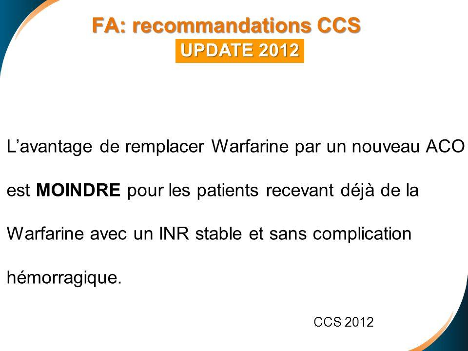 FA: recommandations CCS FA: recommandations CCS UPDATE 2012 Lavantage de remplacer Warfarine par un nouveau ACO est MOINDRE pour les patients recevant