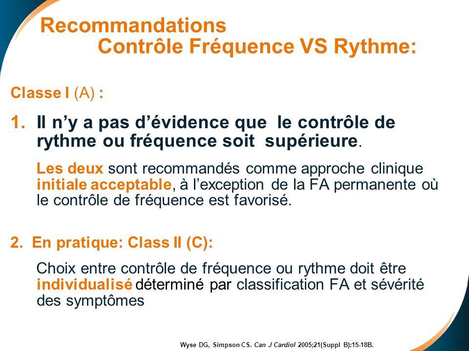 10 Recommandations Contrôle Fréquence VS Rythme: Classe I (A) : 1.Il ny a pas dévidence que le contrôle de rythme ou fréquence soit supérieure.