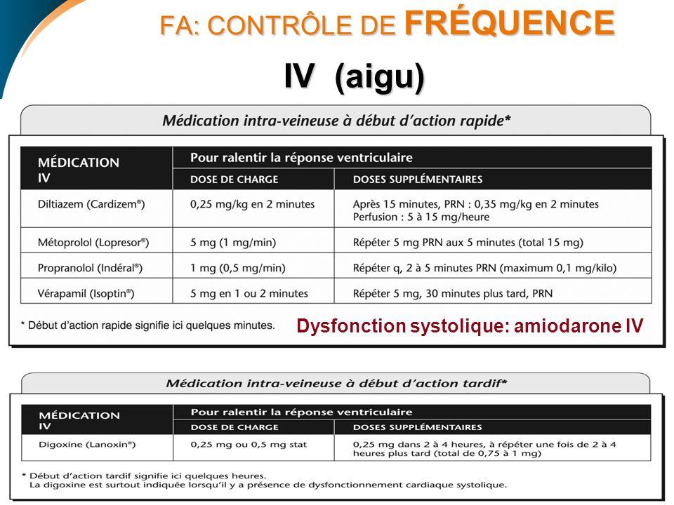 FA: CONTRÔLE DE FRÉQUENCE FA: CONTRÔLE DE FRÉQUENCE IV (aigu) Dysfonction systolique: amiodarone IV