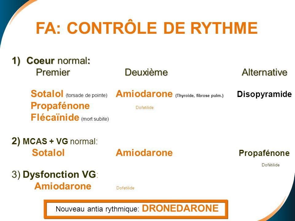 1)Coeur normal: Premier Deuxième Alternative Premier Deuxième Alternative Sotalol (torsade de pointe) Amiodarone (Thyroide, fibrose pulm.) Disopyramide Propafénone Dofetilide Flécaïnide (mort subite) 2) MCAS + VG normal: Sotalol Amiodarone Propafénone Dofétilide 3) Dysfonction VG : Amiodarone Dofetilide FA: CONTRÔLE DE RYTHME Nouveau antia rythmique: DRONEDARONE