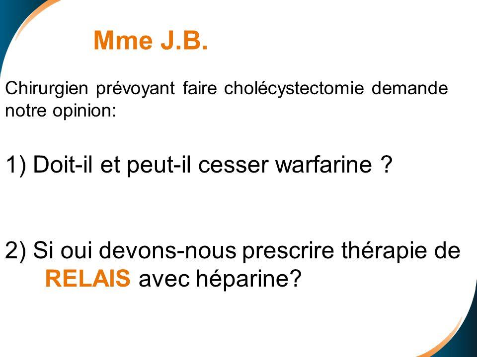 Chirurgien prévoyant faire cholécystectomie demande notre opinion: 1) Doit-il et peut-il cesser warfarine .