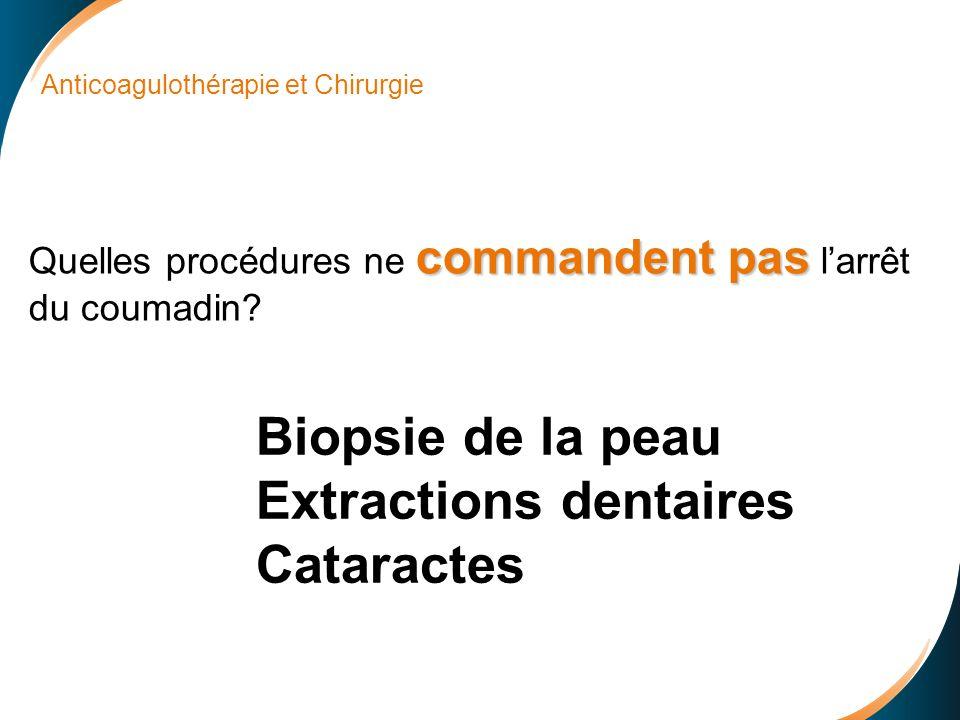 Anticoagulothérapie et Chirurgie commandent pas Quelles procédures ne commandent pas larrêt du coumadin.