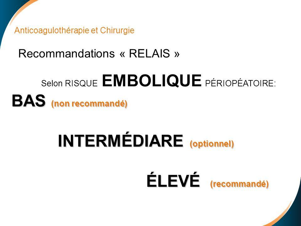 Anticoagulothérapie et Chirurgie Recommandations « RELAIS » Selon RISQUE EMBOLIQUE PÉRIOPÉATOIRE: BAS (non recommandé) INTERMÉDIARE (optionnel) INTERMÉDIARE (optionnel) ÉLEVÉ (recommandé) ÉLEVÉ (recommandé)