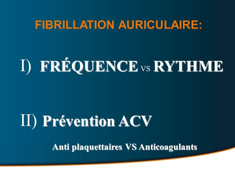 FRÉQUENCERYTHME I) FRÉQUENCE VS RYTHME Prévention ACV II) Prévention ACV Anti plaquettaires VS Anticoagulants Anti plaquettaires VS Anticoagulants FIBRILLATION AURICULAIRE: