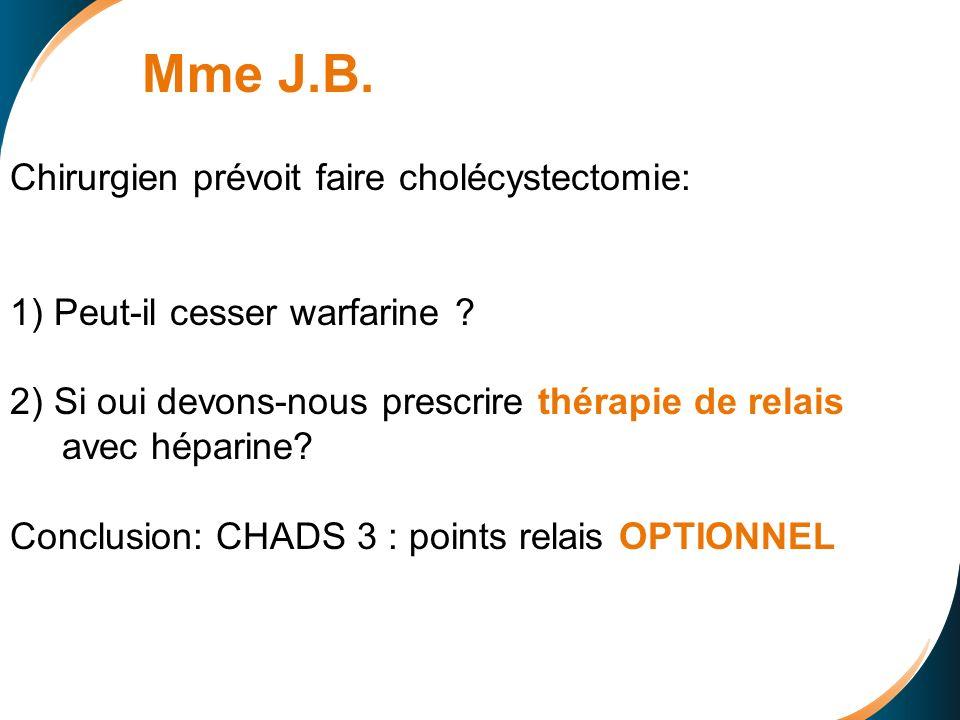 Chirurgien prévoit faire cholécystectomie: 1) Peut-il cesser warfarine .