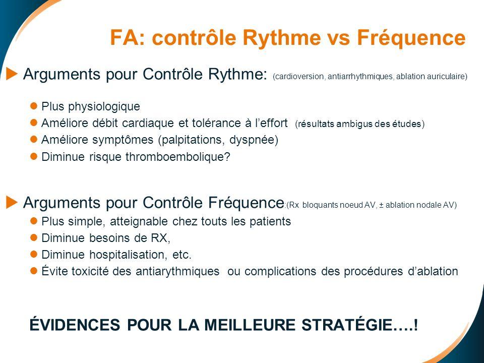 CONTRÔLE DE RYTHME FA: CONTRÔLE DE RYTHME CHIMIQUE: CHIMIQUE: Propafénone: 600 per os (21 études) ( Grade 1A) Propafénone: 600 per os (21 études) ( Grade 1A) Flécainide: 300 (Grade 1A) Procaïnamide 1000 mgs IV en 1hr (pas d étude !!!!!) (Grade 1B) Amiodarone (IV) URGENT: 150 mg/100cc en 1hr ou RAPIDE: 450 mg / 250cc G5% en 6 hrs ENTRETIEN: 450 mg / 250cc 17 cc/hr (24 -48 hrs) ( contrôle φ rapidement mais attente 8 hrs effet anti-arythmique) ÉLECTRIQUE ÉLECTRIQUE: Transthoracique 100-300 J Si ÉCHEC: Amiodarone per os 6 sem.