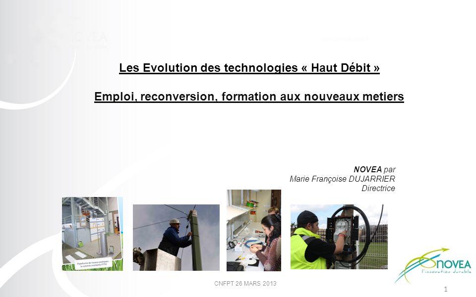 1 NOVEA par Marie Françoise DUJARRIER Directrice Les Evolution des technologies « Haut Débit » Emploi, reconversion, formation aux nouveaux metiers CN