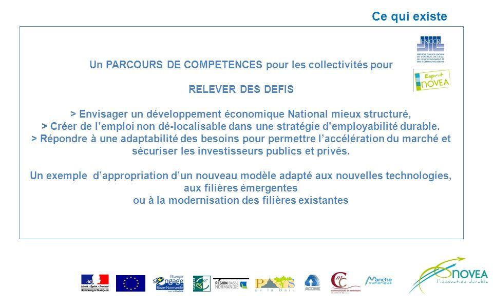 Un PARCOURS DE COMPETENCES pour les collectivités pour RELEVER DES DEFIS > Envisager un développement économique National mieux structuré, > Créer de