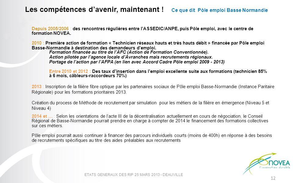 Les compétences davenir, maintenant ! Ce que dit Pôle emploi Basse Normandie ETATS GENERAUX DES RIP 25 MARS 2013 - DEAUVILLE 12 Depuis 2005/2006 : des