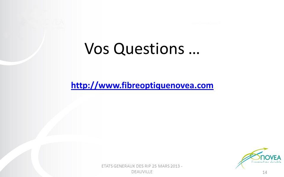 Vos Questions … http://www.fibreoptiquenovea.com http://www.fibreoptiquenovea.com ETATS GENERAUX DES RIP 25 MARS 2013 - DEAUVILLE 14