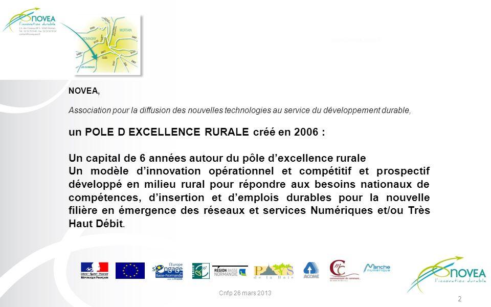 2 NOVEA, Association pour la diffusion des nouvelles technologies au service du développement durable, un POLE D EXCELLENCE RURALE créé en 2006 : Un c