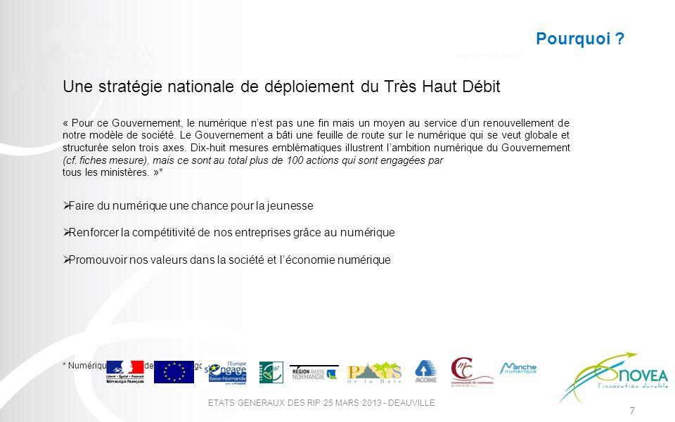 7 ETATS GENERAUX DES RIP 25 MARS 2013 - DEAUVILLE Une stratégie nationale de déploiement du Très Haut Débit « Pour ce Gouvernement, le numérique nest