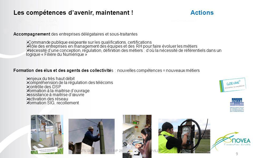 9 ETATS GENERAUX DES RIP 25 MARS 2013 - DEAUVILLE Les compétences davenir, maintenant !Actions Accompagnement des entreprises délégataires et sous-tra
