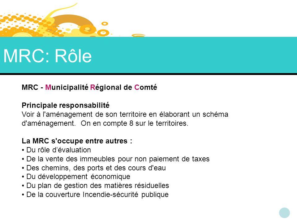 MRC: Rôle MRC - Municipalité Régional de Comté Principale responsabilité Voir à l aménagement de son territoire en élaborant un schéma d aménagement.