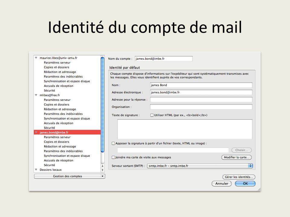 Identité du compte de mail