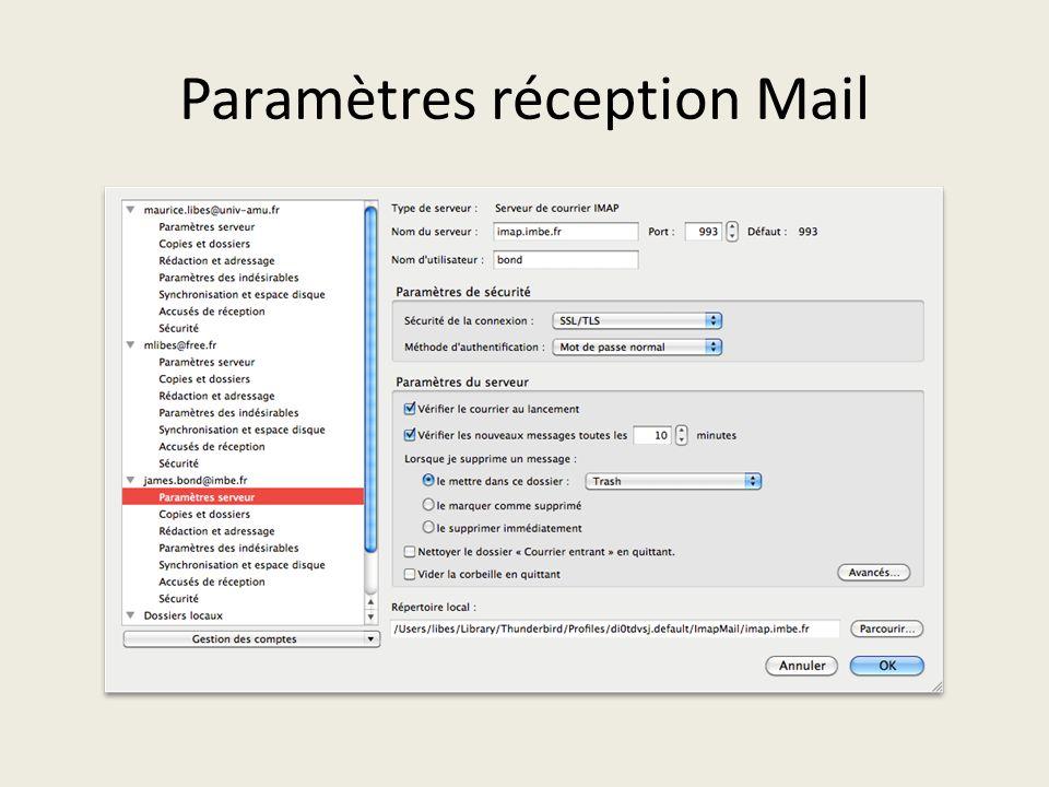 Paramètres réception Mail