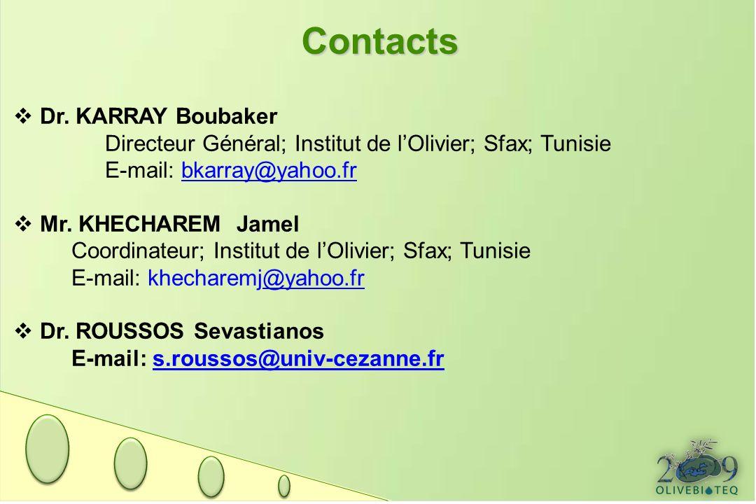 Contacts Dr. KARRAY Boubaker Directeur Général; Institut de lOlivier; Sfax; Tunisie E-mail: bkarray@yahoo.frbkarray@yahoo.fr Mr. KHECHAREM Jamel Coord