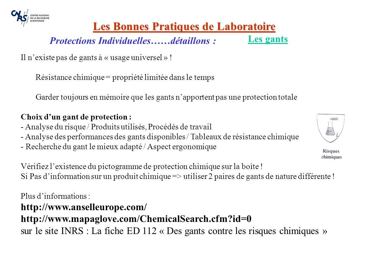 Les Bonnes Pratiques de Laboratoire Protections Individuelles……détaillons : Projections de produits chimiques dans lœil sont fréquentes et conséquence