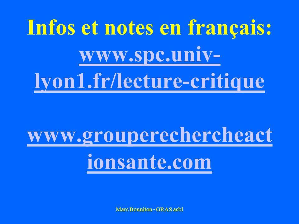 Marc Bouniton - GRAS asbl Infos et notes en français: www.spc.univ- lyon1.fr/lecture-critique www.grouperechercheact ionsante.com www.spc.univ- lyon1.