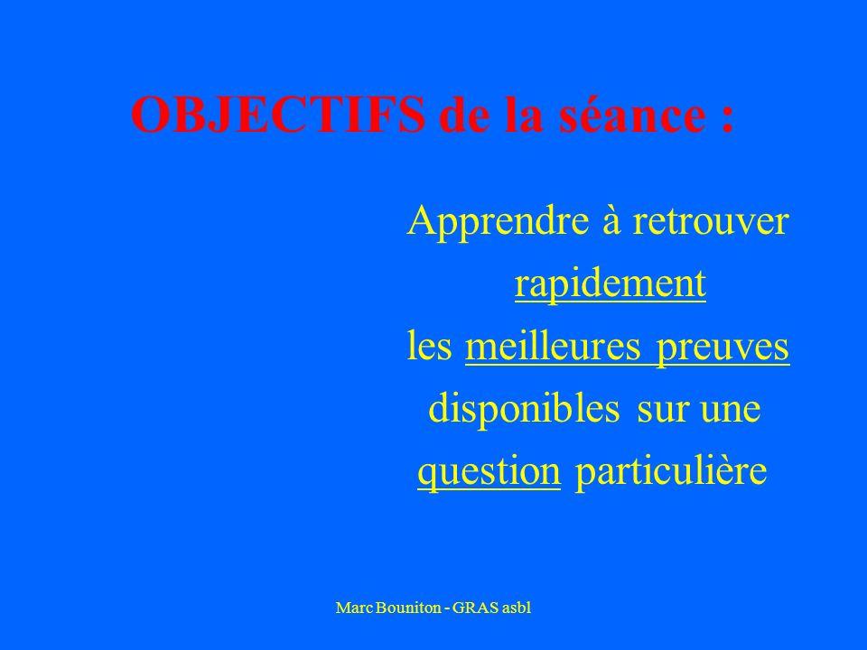 Marc Bouniton - GRAS asbl OBJECTIFS de la séance : Apprendre à retrouver rapidement les meilleures preuves disponibles sur une question particulière