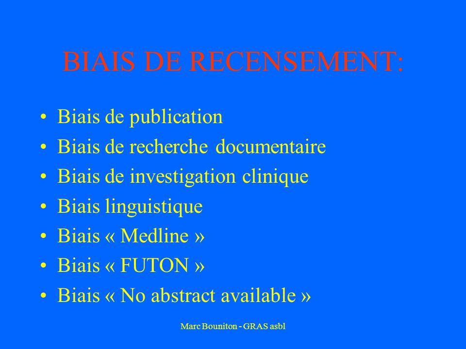 BIAIS DE RECENSEMENT: Biais de publication Biais de recherche documentaire Biais de investigation clinique Biais linguistique Biais « Medline » Biais « FUTON » Biais « No abstract available »