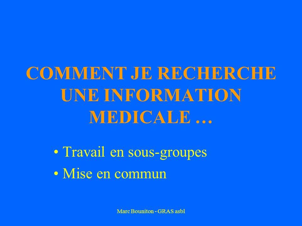 Marc Bouniton - GRAS asbl COMMENT JE RECHERCHE UNE INFORMATION MEDICALE … Travail en sous-groupes Mise en commun