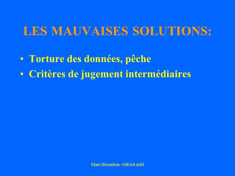 Marc Bouniton - GRAS asbl LES MAUVAISES SOLUTIONS: Torture des données, pêche Critères de jugement intermédiaires