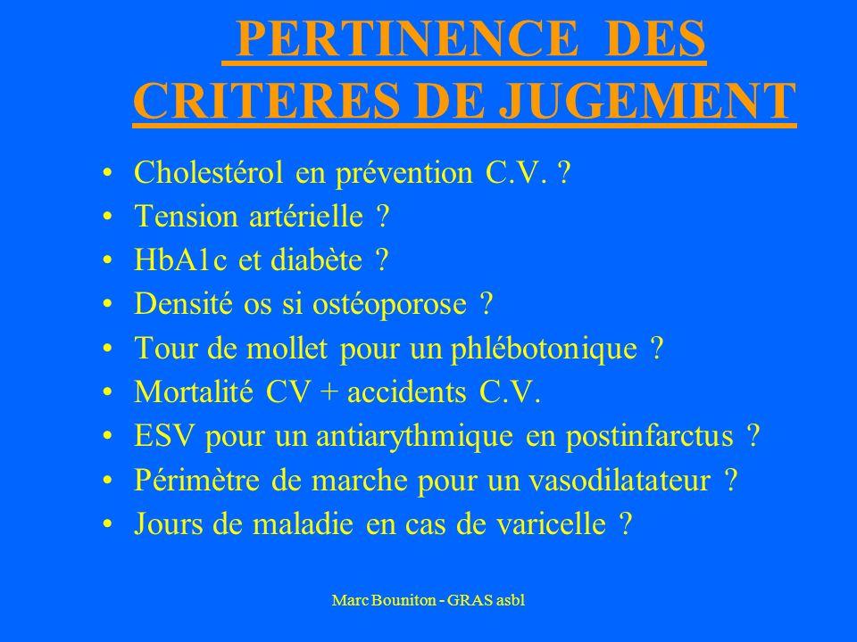 Marc Bouniton - GRAS asbl PERTINENCE DES CRITERES DE JUGEMENT Cholestérol en prévention C.V. ? Tension artérielle ? HbA1c et diabète ? Densité os si o