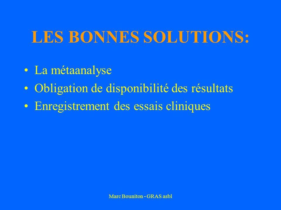 Marc Bouniton - GRAS asbl LES BONNES SOLUTIONS: La métaanalyse Obligation de disponibilité des résultats Enregistrement des essais cliniques