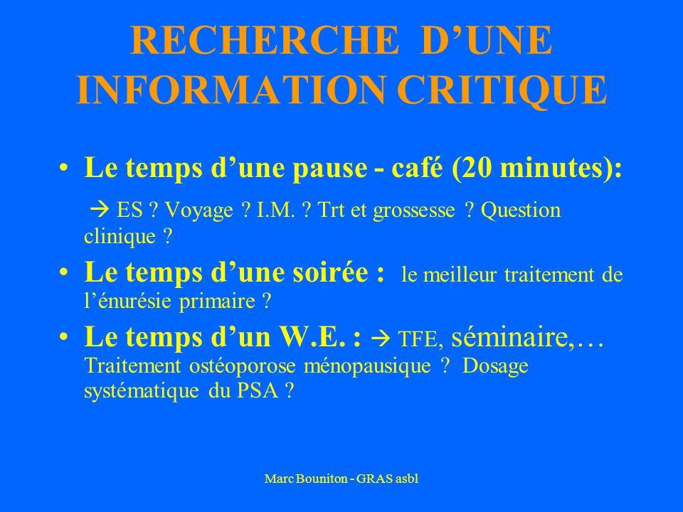Marc Bouniton - GRAS asbl RECHERCHE DUNE INFORMATION CRITIQUE Le temps dune pause - café (20 minutes): ES ? Voyage ? I.M. ? Trt et grossesse ? Questio