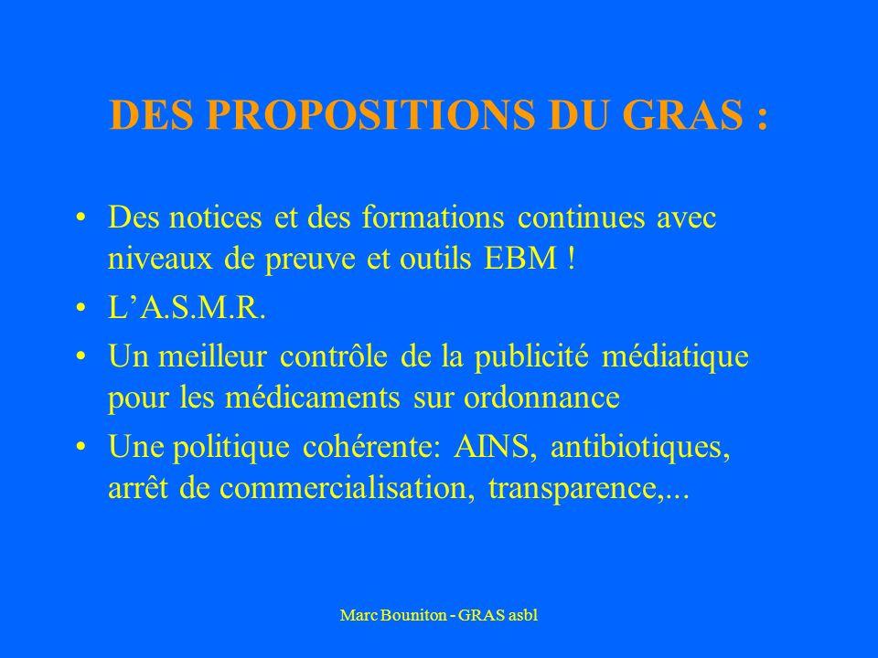 Marc Bouniton - GRAS asbl DES PROPOSITIONS DU GRAS : Des notices et des formations continues avec niveaux de preuve et outils EBM ! LA.S.M.R. Un meill