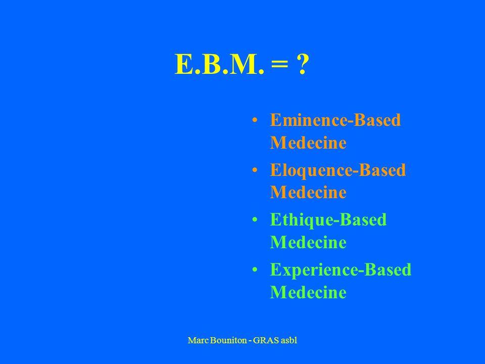 Marc Bouniton - GRAS asbl E.B.M. = ? Eminence-Based Medecine Eloquence-Based Medecine Ethique-Based Medecine Experience-Based Medecine