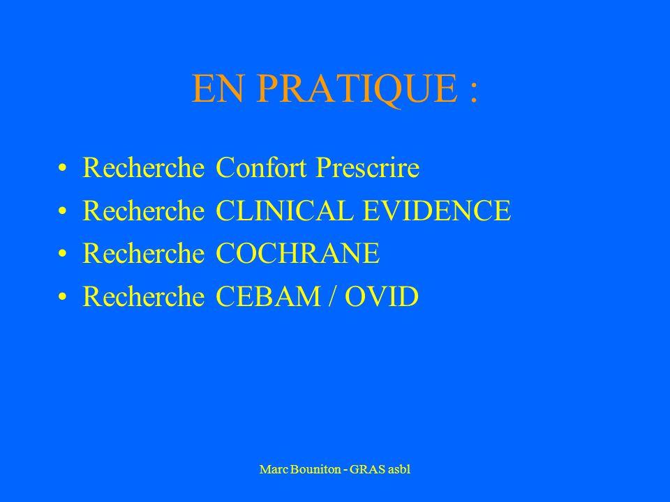 Marc Bouniton - GRAS asbl EN PRATIQUE : Recherche Confort Prescrire Recherche CLINICAL EVIDENCE Recherche COCHRANE Recherche CEBAM / OVID