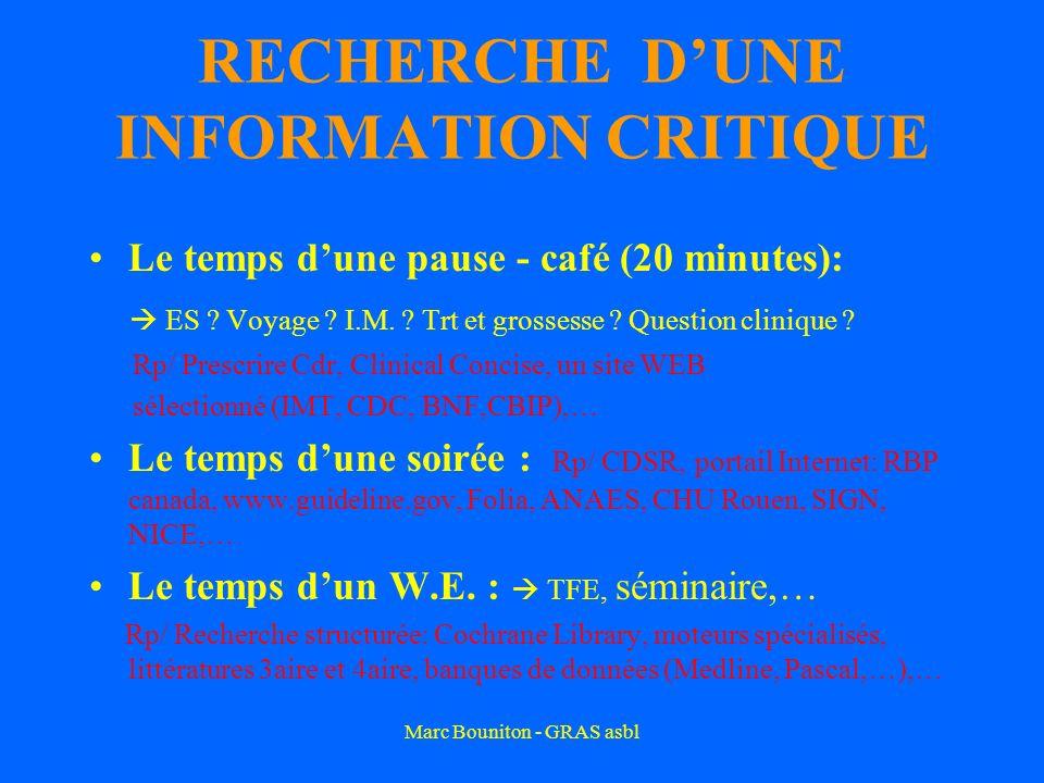 Marc Bouniton - GRAS asbl RECHERCHE DUNE INFORMATION CRITIQUE Le temps dune pause - café (20 minutes): ES .